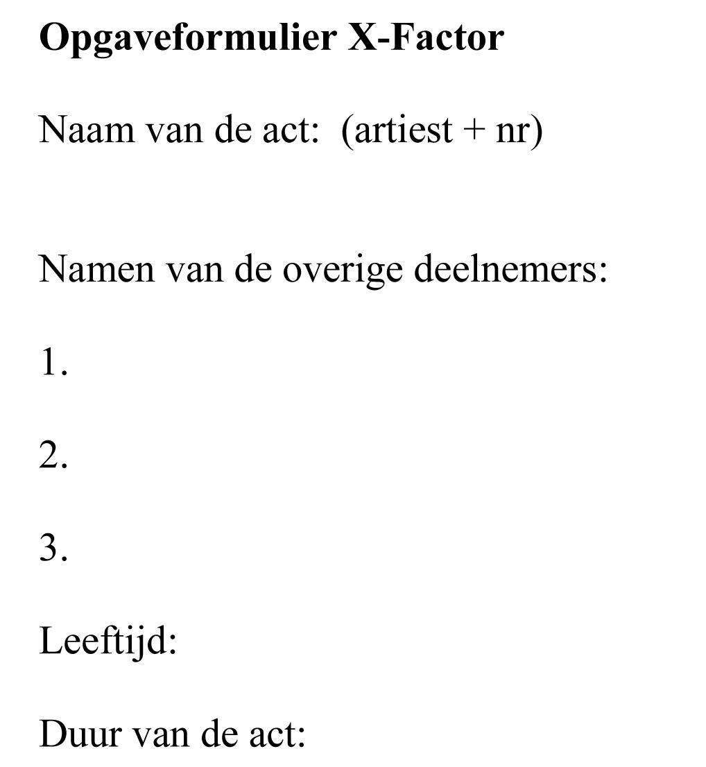 Opgaveformulier X-factor