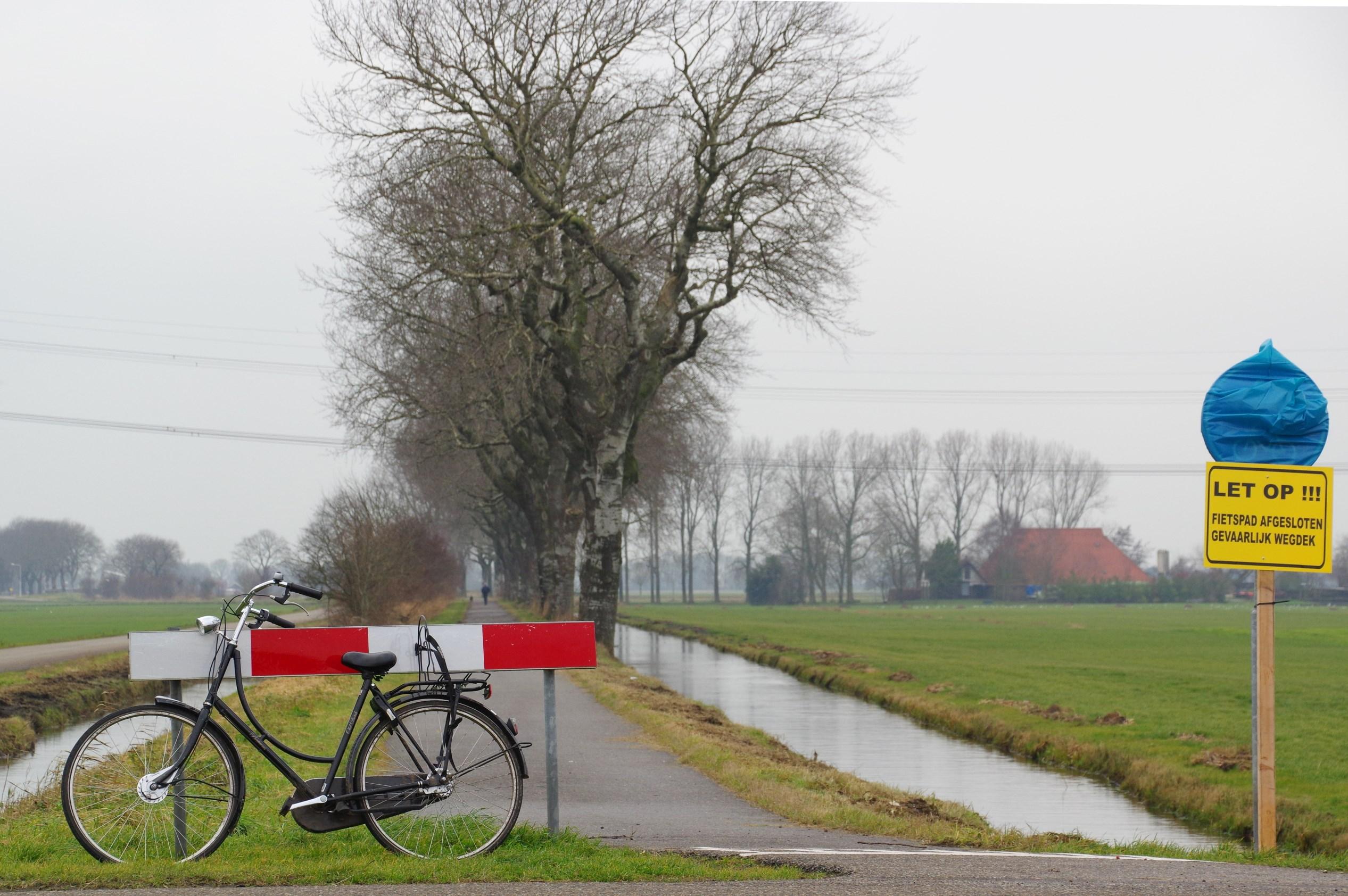 Afsluiting fietspad naar Langelille